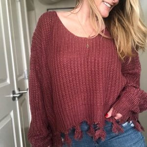 Sweaters - Casey Frayed Hem Sweater | Marsala